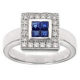 18K White Gold Ring With Diamond And Gemstone (1266)