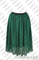 PLEATED EMBROIDED SKIRT