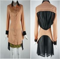 Top - Long Shirt With See Throug...