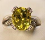 925 Silver Ring With Lemon Amethyts (Ltd1055)
